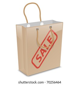 Vector shopping bag with sale stamp