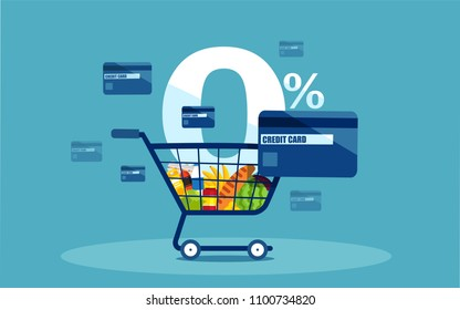 Vector of a shopping cart and discount credit card with low interest rates on blue background