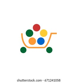 Vector shopping cart icon. Flat style on white background