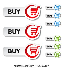Vector shopping cart item, trolley, buy button