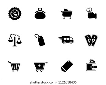 vector shopping & commerce icons set - online marketing, sale and discount sign symbols