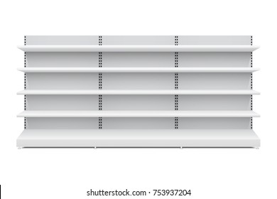 Vector shopping rack, long shelf template, isolated on white