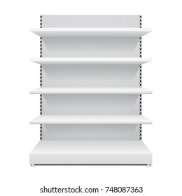 Vector shopping rack, shelf template, isolated on white