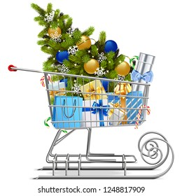 Vector Shopping Sled with Christmas Decorations isolated on white background