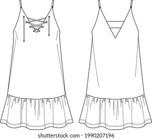 Vector short flared dress fashion CAD, woman a shape dress with frills technical drawing, dress with thin shoulder straps template, flat, sketch. Jersey or woven fabric dress with front, back view