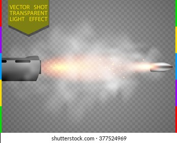 Vector shot flash special light effect. Bullet flew out of the barrel with glow spark and smoke on transparent background. Shooting flare moment element