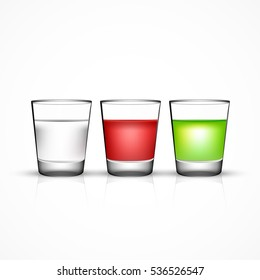 Vector shot glass set with water or vodka and colored cocktails, isolated on white