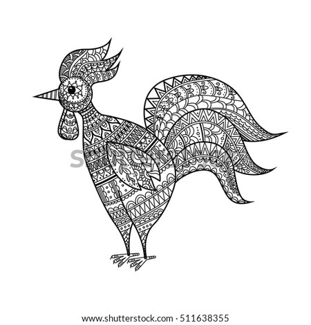 Vector Showing Rooster And Stamp Coloring Cartoon Book Decorative Hand Drawn In