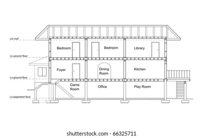 Vector shows the cross-section of the house