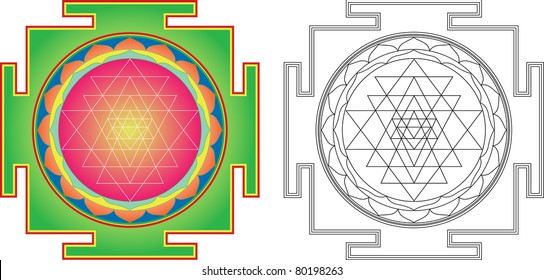 Vector Shri  Yantra (or Sri Yantra) for Meditation .  Color and contour image