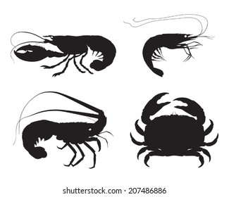 Vector shrimp, lobster, crab and spiny lobster silhouettes on white background