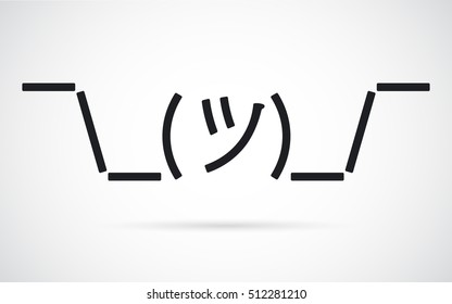 Vector shrug-mug emoji. Stylized line person shrugging its shoulders indicating lack of knowledge, and care.