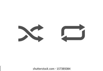 Vector Shuffle Repeat Icon Symbol Set