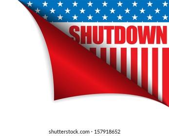 Vector - Shutdown Closed United States of America Page Corner