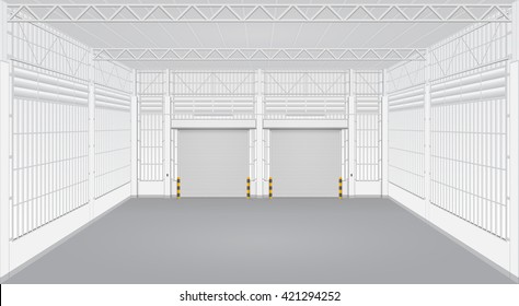 Vector of shutter door or roller door and concrete floor inside factory building use for industrial background.