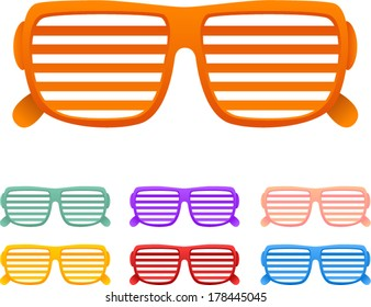 vector shutter shades sunglasses set - Separate layers for easy editing