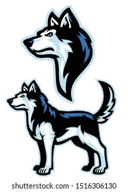 vector of siberian husky dog mascot set