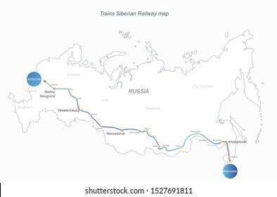 vector of siberian train railway map. russian railway graphic map. russia map.