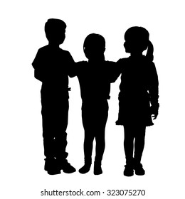 Vector siblings silhouette on a white background.