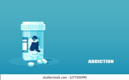 Vector of a sick sad patient man in depression drowning in medications sitting inside a bottle. Concept of drug addiction.