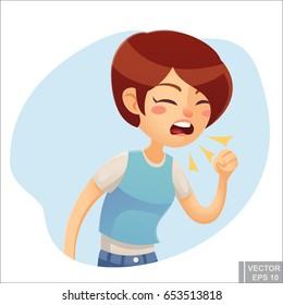 Vector - Sick woman. Unhappy character. Vector cartoon illustration. Woman coughing in hand. Season allergy illness
