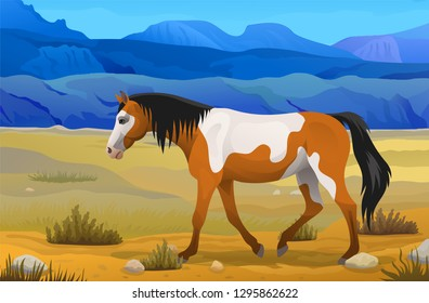 Vector side view indian horse wild mustang piebald color scenic prairie or steppe landscape with beautiful mountains wild west