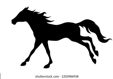 Vector side view silhouette of young  running mustang galloping horse illustration