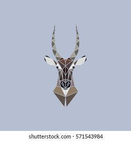 Vector sign abstract head of African Waterbuck. Geometric low poly design.