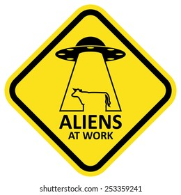 Vector sign aliens at work. Format eps 10.