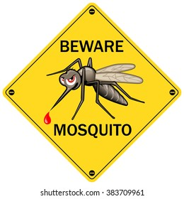 """Vector Sign: """"Beware Mosquito"""". Vector Illustration for Insect Control Service. Angry Mosquito on Yellow. Sticker Design"""