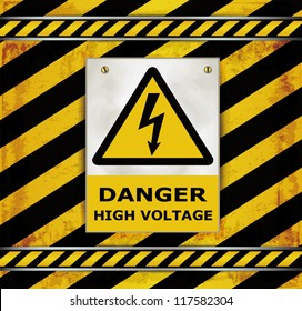 vector Sign caution blackboard danger high voltage