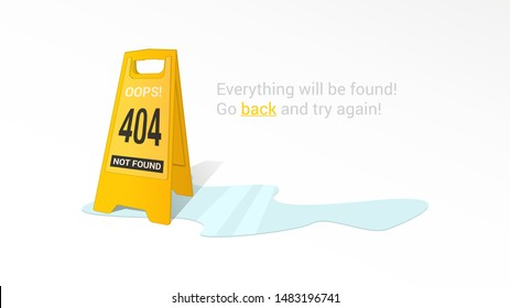 Vector sign caution wet floor in 404 error page not found isolated in white background
