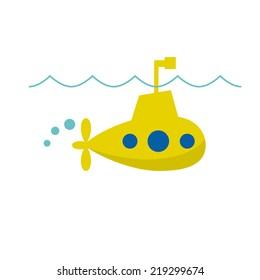 Vector sign cheerful submarine