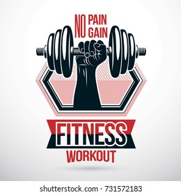 Vector sign composed with muscular sportsman arm holding disc weight dumbbell. No pain no gain lettering. Fitness workout conceptual emblem