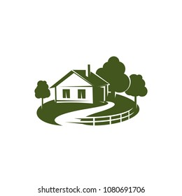 Vector sign of country house. Emblem with house and trees in green colors. Concept of eco friendly buildings and gardening. Icon of cottage in countryside with garden, isolated on white background