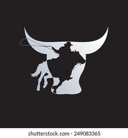 Vector sign cowboy on black background
