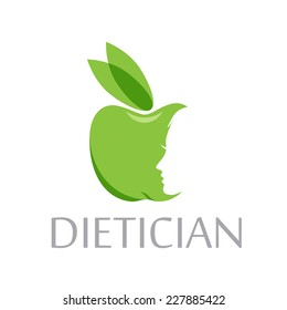 Vector sign diet, dietitian. Green apple