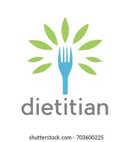 Vector sign diet, dietitian. Tree wit leaves and fork