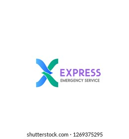 Vector sign for emergency service Express. Concept of medical help or aid, vector label isolated on a white background. Concept of 24hr service and support creative badge