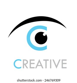 Vector sign eye with letter C of Creative