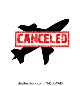 Vector sign of the flight is canceled. Ban icon.