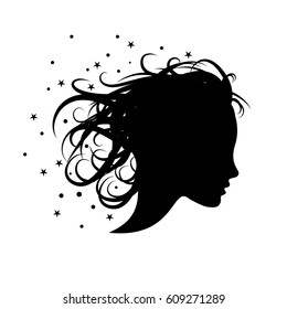 Vector sign girl in the wind. Concept of hairdresser