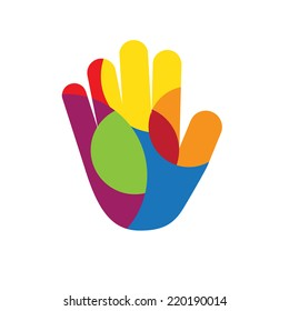Vector sign hand with colored circles