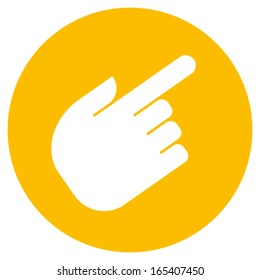 Vector sign of hand with pointing finger against orange circle