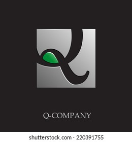Vector sign initial letter Q on black background