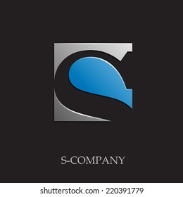 Vector sign initial letter S on black background