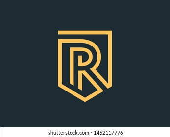 Vector sign letter R. Abstract shield in a linear style.
