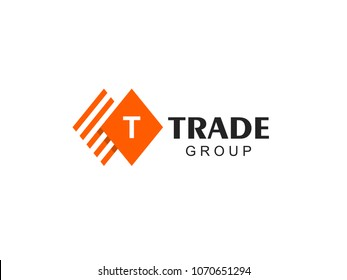 Vector sign letter T. Business finance logo. T icon flat. Accounting logo template. Marketing rate simple rhombus logotype.