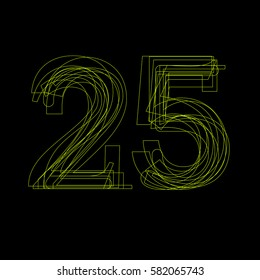 Vector sign linear fluorescent number 25,  green light on black background