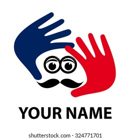 Vector sign look image, photographer with mustache